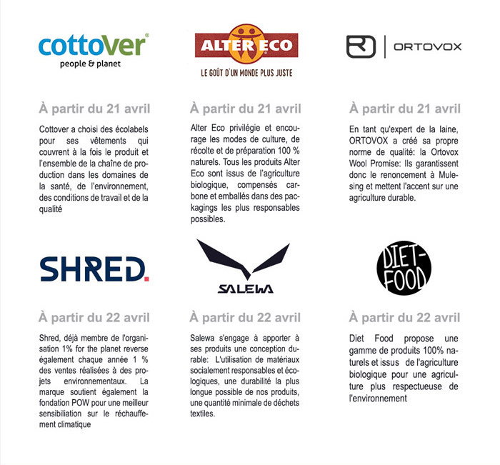 Cottover, Alter Eco, Ortovox, Shred, Salewa, Diet Food